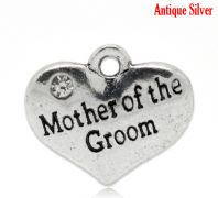 "5 Antique Silver Heart with Clear Rhinestone ""Mother of the Groom"" Charm Pendants 16x14mm"